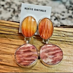 Native American Spiny Oyster Sterling Earrings